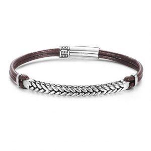 Footprint 925 sterling silver mens leather bracelet- brown