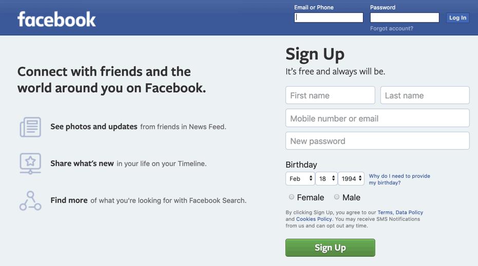 Sign Up Facebook