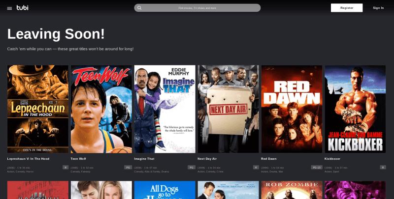 Tubi, movie streaming sites